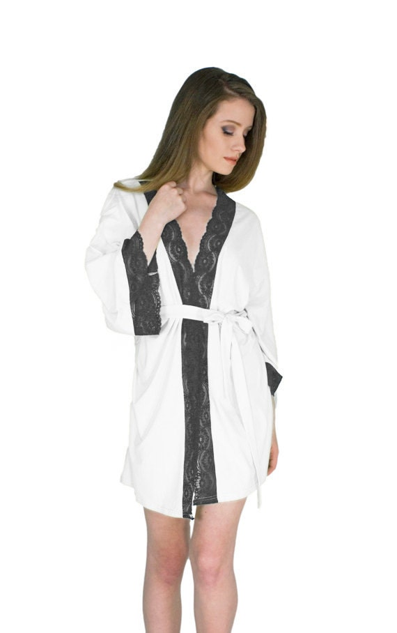 29adca68a0 Anniversary Gift Robe Black and White Robe For Her Sexy Short Robe Organic  Bamboo Lingerie Sexy Gifts for Wife Wedding Anniversary