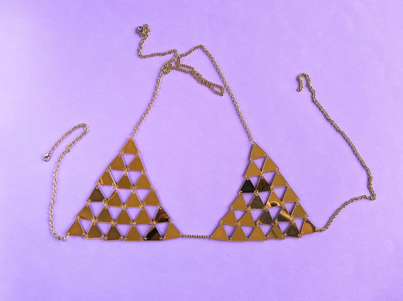 2e0bf719e Sheer Bra Triangle Bikini Top Metallic Rave Bra GOLD or SILVER | Etsy