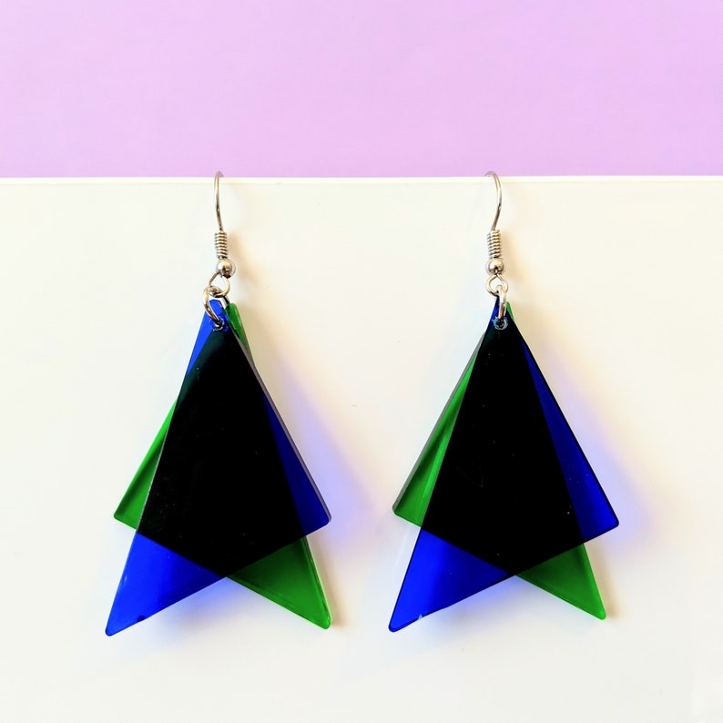Geometric Jewelry Multi Color Acrylic Earrings Lucite Earrings Primary Colors Clear Dangle Earrings  PICK YOUR STYLE