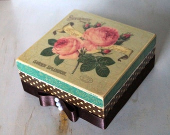 Jewelry Storage Box, Decoupage Box, Wedding Wishes Box, decoupage furniture, Vintage Box, Wooden decoupage, wooden box, home decor