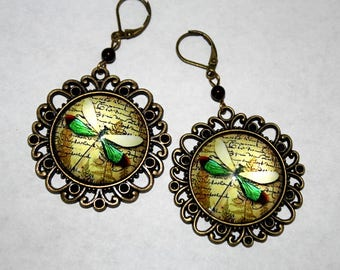 Whimsical Dragonfly Cabachons in an Antique Bronze Setting with Maroon Swarovski Pearls