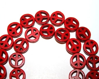 10 mm Red Peace Sign Gemstone Beads