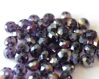8 mm AB Purple Faceted Rondelle Crystal Beads