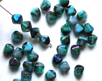 6 mm Blue/Teal Azuro Bicone Beads