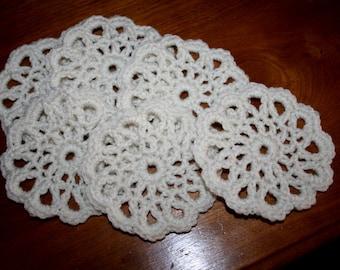6 Ivory White Crocheted Coasters