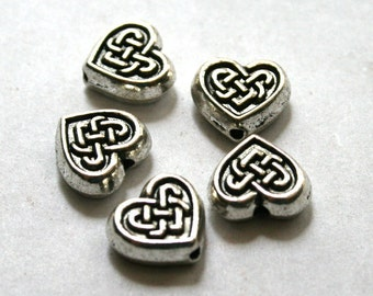 5 Antique Silver Celtic Heart Beads