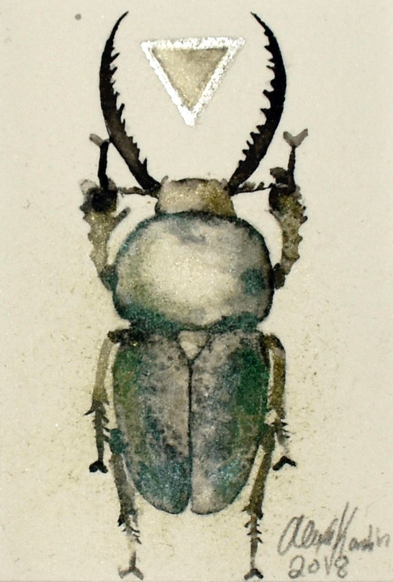lamprima adolphinae ready to fit in 5x7 frame Beetle original ink painting with silver leaf and metallic pigment