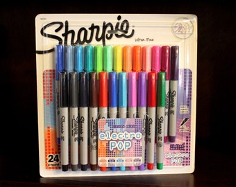 Sharpie Ultra Fine Permanent Markers Set of 24 Electro Pop Limited Edition Colors ~ Assorted Sharpies Box Big Variety Pack Package