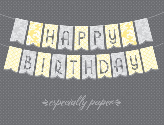 items similar to printable birthday banner  happy birthday