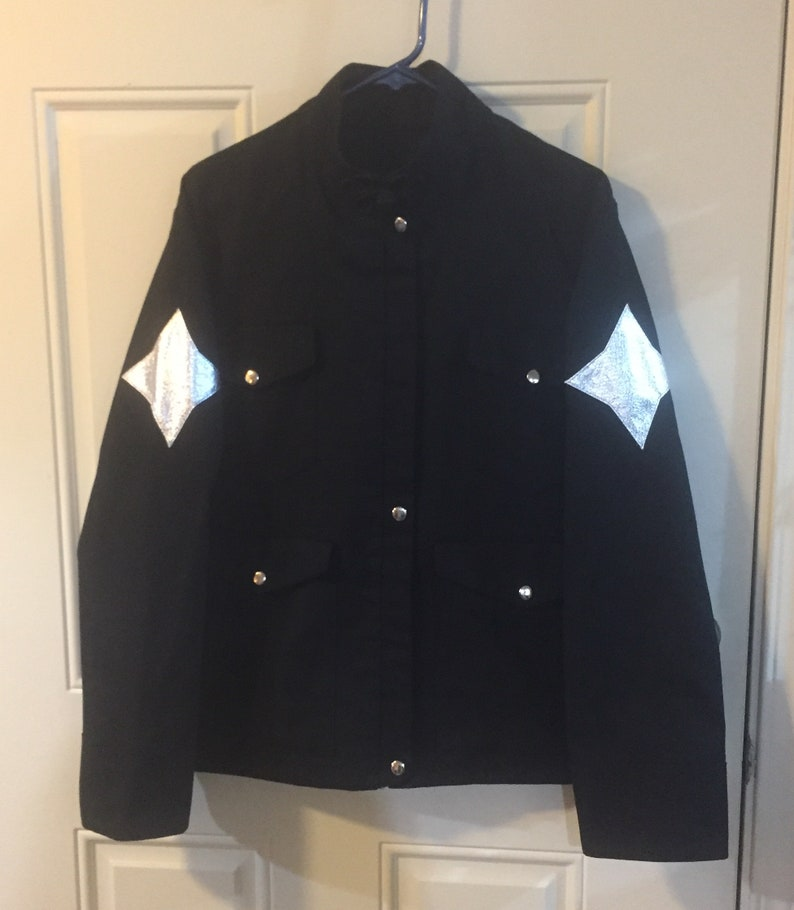 Black Cotton Canvas Jacket with silver stars