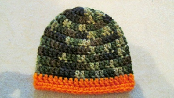 Baby Boy Camo Hat Camo and Orange Crochet Newborn Hat Baby  6e689fc3a1c