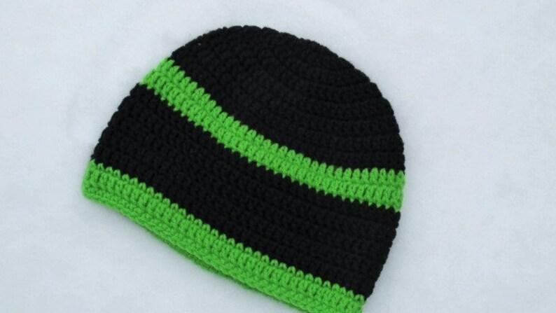 46251957c02 Winter Beanie Adult Skull Cap Crochet Hat Black and Lime