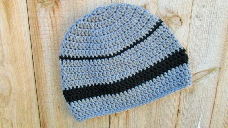 090d199a0ea Crochet Hat Black Grey Beanie Adult Skull Cap Mens Womens