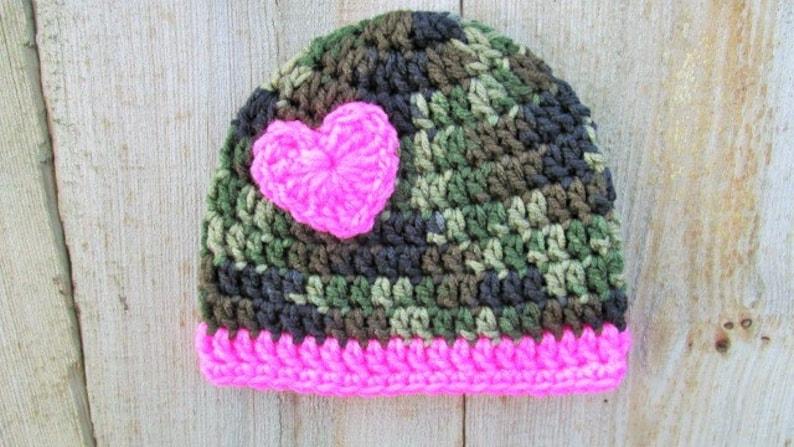Baby Girl Military Hat, Baby Girl Camo Hat, Pink Camo, Crochet Newborn  Heart Hat, Baby Photo Prop, Country Camo, Army Beanie, Baby Skull Cap