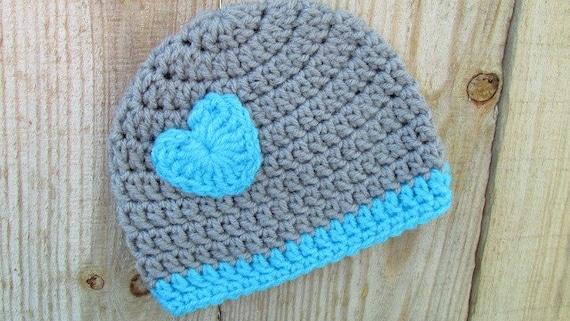 Grau Frühchen Mütze Häkelmütze Preemie Herz Mikro Preemie