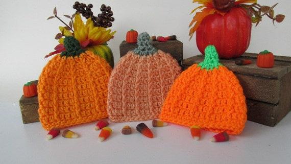 36f15a73874 Crochet Baby Pumpkin Hat Pumpkin Beanie Fall Baby Hat