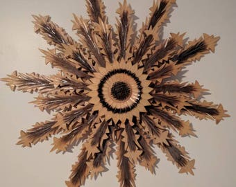 Midcentury 3D Folk Art Wood Sunflower Wall Hanging Décor Carved Wood Flower or Star Wall Hanging
