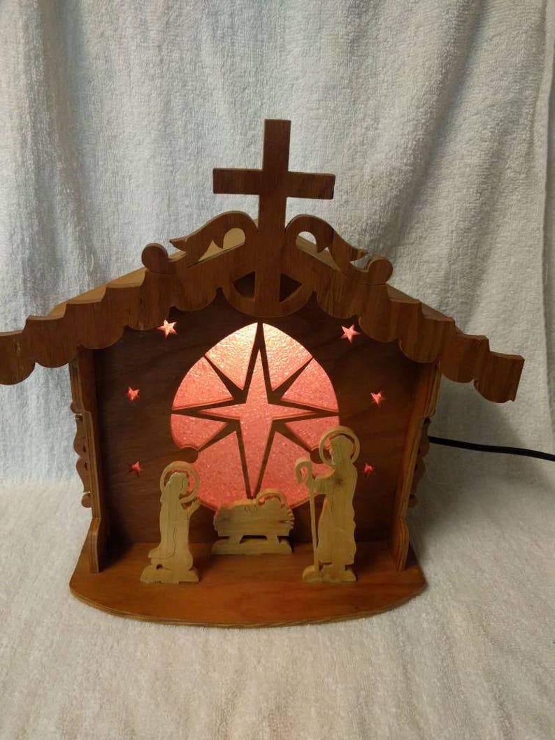 2fb148e396d Natividad de madera Vintage hecho a mano mesa lámpara lámpara