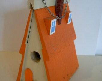 Vintage Hand Made Birdhouse in Orange