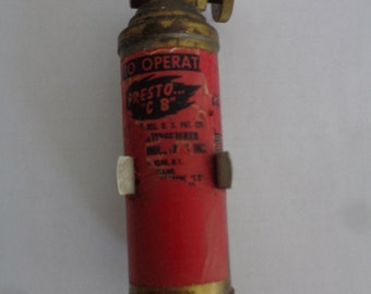 "Antique Mini Brass Fire Extinguster  ""PRESTO""  ""CB"""