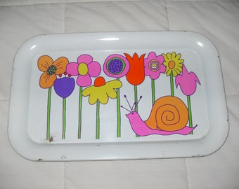 Mid Century Decorated Tin Tray