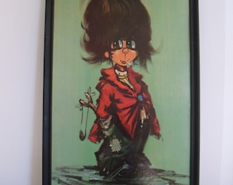 Vintage Mid Century Wall Hanging of Smoking Boy with Slingshot