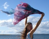 Silk scarf in pink purple and teal - extra light felted scarf - reserved listing for Deborah