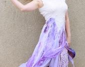Open back wedding dress Boho wedding dress Alternative wedding dress Purple white wedding gown Lavender ombre wedding dress Felted dress