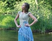 Boho bridesmaid dress - Alternative bridesmaids dress for relaxed wedding - blue beige dress for bohemian wedding