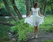 White fairy wedding dress - Elven wedding dress from silk and wool - Woodland wedding dress for alternative bride - Silk wedding dress