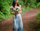 Boho wedding dress Alternative wedding dress Tribal wedding dress in white and blue Short blue wedding dress