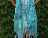 Turquoise blue silk scarf - Aquamarine blue shawl - Extra light bohemian shawl - Water blue scarf