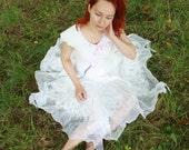 Fairy wedding dress Alternative wedding dress Bohemian wedding dress Boho wedding dress Short wedding dress White felt dress Silk wool dress