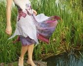 Alternative wedding dress Boho wedding dress Bohemian wedding dress Purple lilac white dress Silk wool dress Felt purple dress