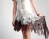 Alternative weddings dress Short wedding dress Boho wedding dress Silk wedding dress Bohemian wedding dress Felt dress Wool silk dress