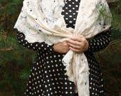 Creamy pastel scarf - Soft lace pastel scarf - Light creamy boho wrap - Bohemian off white scarf - Delicate off-white shawl