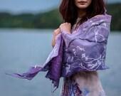 Felted scarf Wedding shawl Lavender scarf Boho shawl Bohemian scarf Ombre purple scarf Pashmina scarf Silk wool scarf