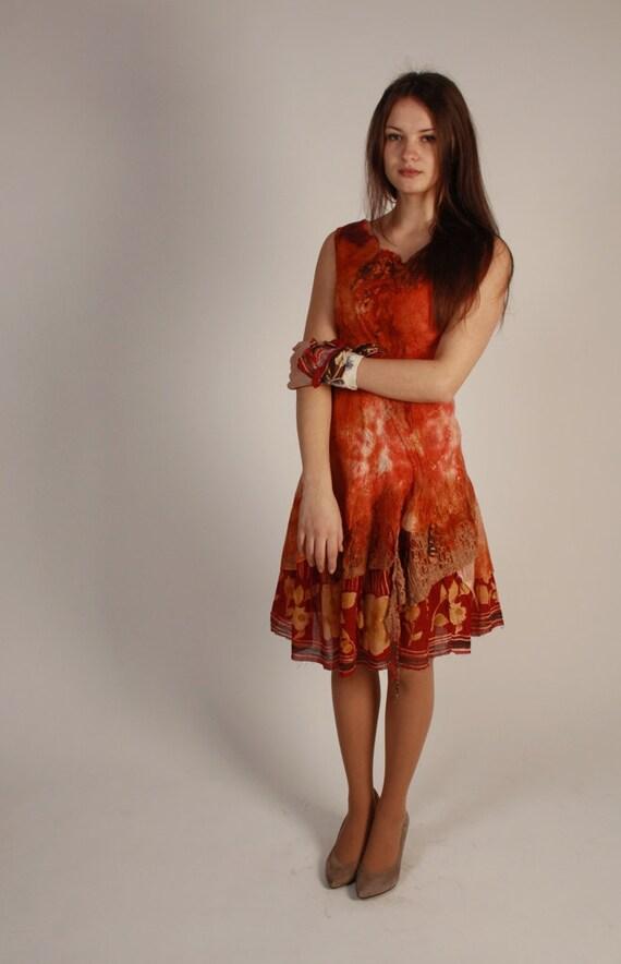 Gast Brautkleid böhmischen rot gefilzte orange roten Kleid | Etsy