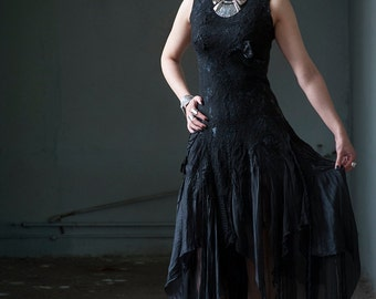 Black wedding dress Alternative wedding dress Goth wedding dress Bohemian wedding dress Boho chic dress Silk wool dress Black felt dress