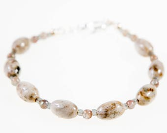 Taupe Stone Bracelet, Beige and Brown Semi Precious Gemstone Beaded Jewelry, Jasper and Glass with Toggle Clasp