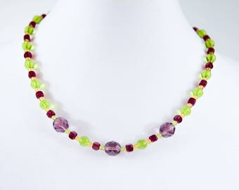 Purple, Green and Yellow Glass Bead Necklace, Mardi Gras Colors, 20 inch Necklace