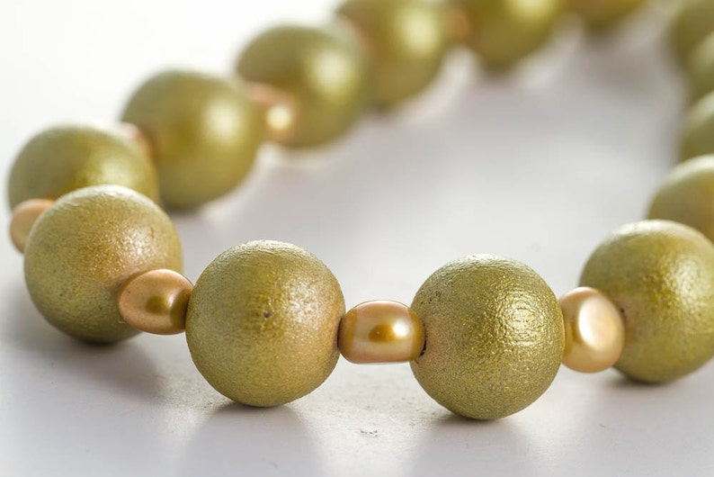 Metallic Green Wooden Bead Strand Necklace Golden Freshwater image 0