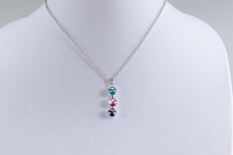 Multicolored Crystal Pendant Necklace Thyroid Cancer image 0