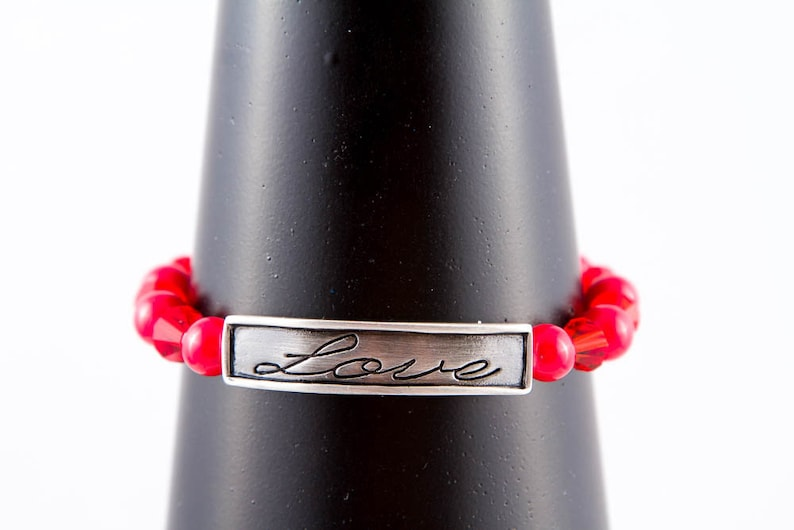 Love Stretch Bracelet Adjustable Elastic Message Bracelet Red Glass /& Pewter Word Stacking Bracelet Small or Large Sizes