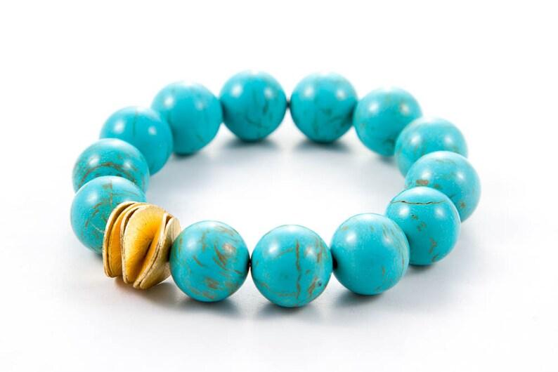 Chunky Blue Gemstone Stretch Bracelet Turquoise Magnesite image 0