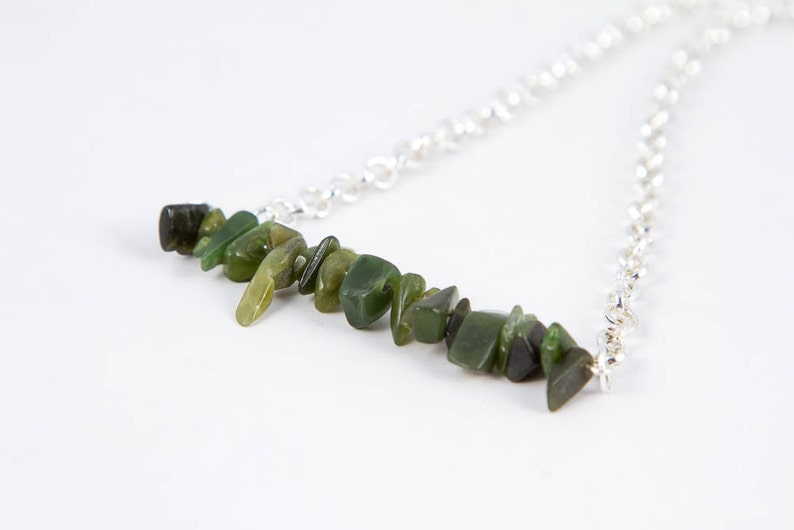 Green BC Jade Bead Bar Necklace Simple Gemstone Chip image 0