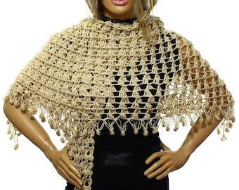 Hand Crochet Wedding Shawl,Bridal Shawl, Bridal Wedding Shawl,Vanilla Flower Shawl Scarf Capelet, Bridesmaid Shawl, Gift Ideas For Her Mom