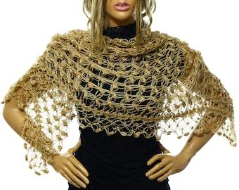 Hand Crochet Wedding Shawl,Bridal Shawl, Bridal Wedding Shawl,Caramel Gold Shawl Scarf Capelet, Bridesmaid Shawl, Gift Ideas For Her Mom