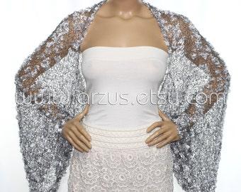 Wedding Shrug Knit Silver Shrug Cover Ups Shawls Wraps Long Sleeve Evening  Shrug Weddings Bridal Accessories Shrugs Boleros Bridesmaids Gift 58e2ca709cb5