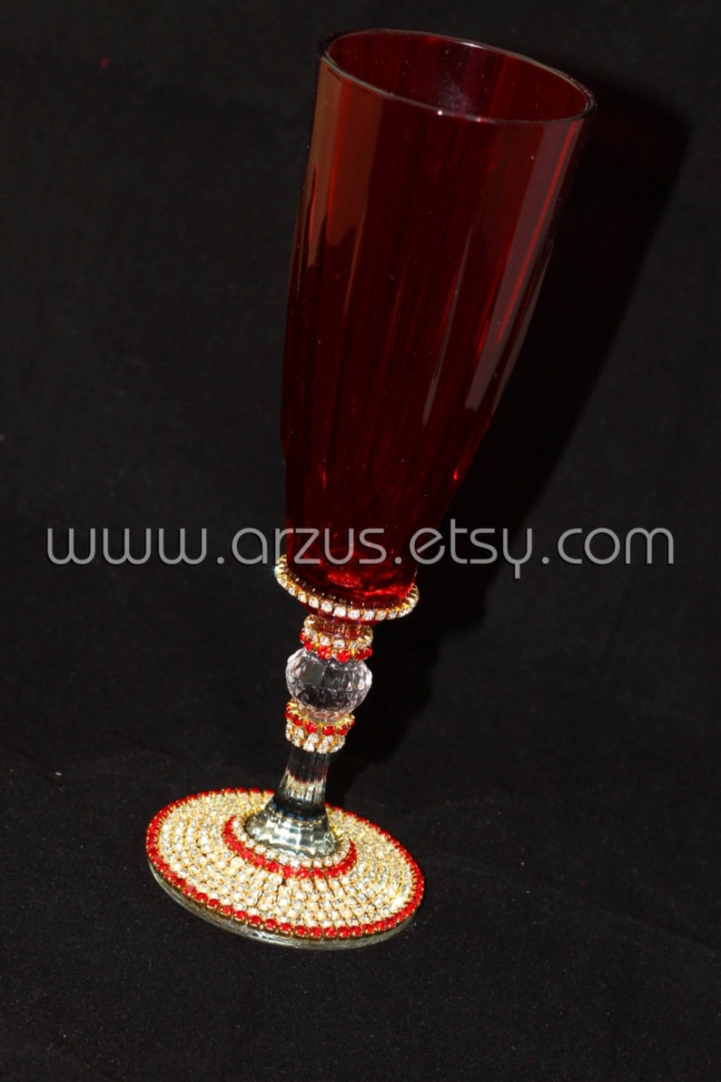 555d6bb9877 Customized Handmade Wedding Red Champagne Flute Toasting Flute